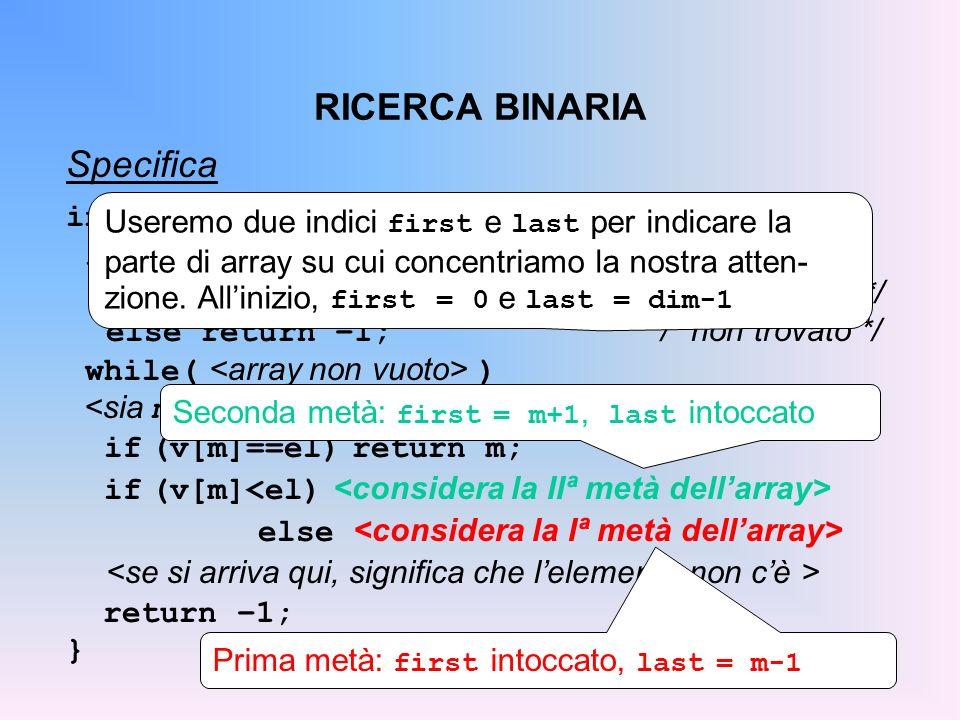 RICERCA BINARIA Specifica int ricBin(int v[], int dim, int el){